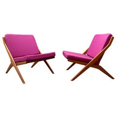 Folk Ohlsson Teak Scissor Chairs - A Pair