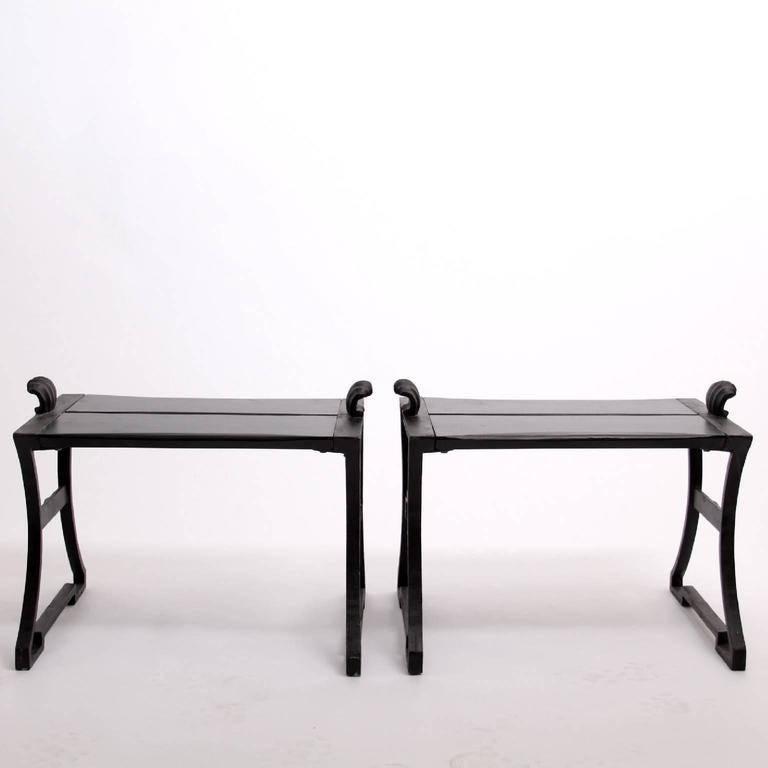 Scandinavian Modern Pair of Folke Bensow Park Bench No. 1 in Black, Sweden, 1920s