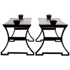 Pair of Folke Bensow Park Bench No. 1 in Black, Sweden, 1920s