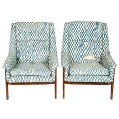 Pair of Folke Ohlsson Armchairs Upholstered in Unique Phil Goss Fabric