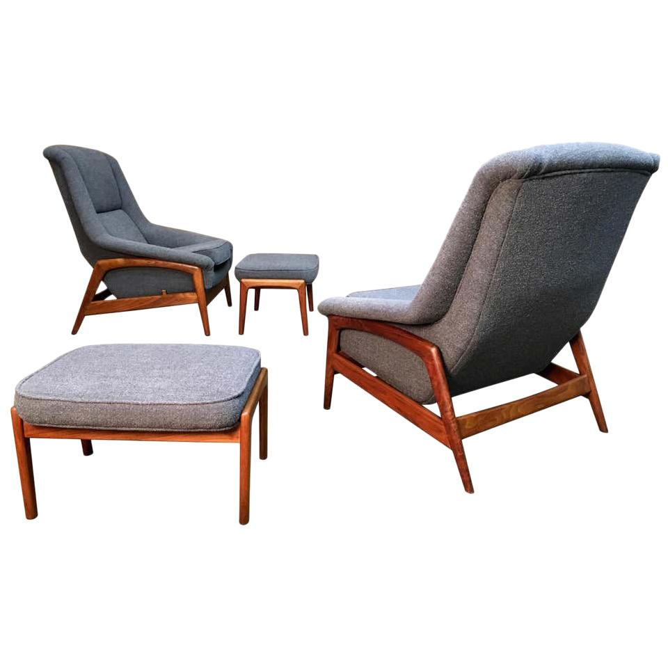 """Pair of Folke Ohlsson for DUX """"Profil"""" Lounge Chair with Ottoman"""