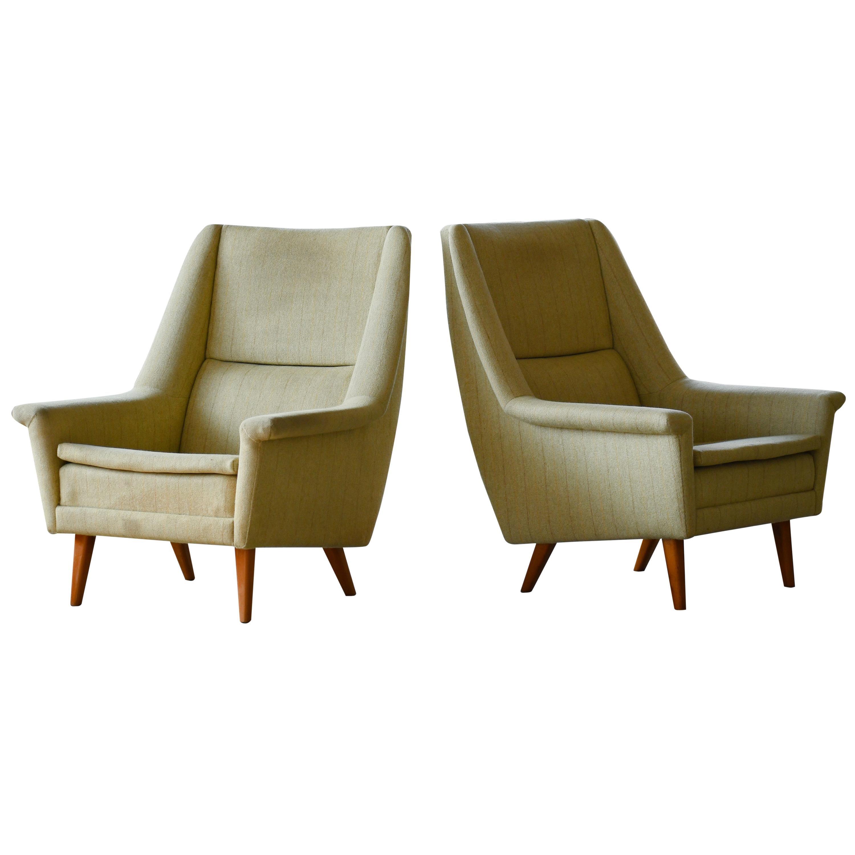 Pair of Folke Ohlsson Lounge Chairs for Fritz Hansen Danish Midcentury