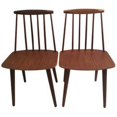 Pair of Folke Palsson J77 Chairs in Teak
