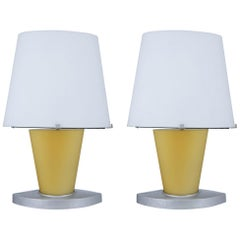 Pair of Fontana Arte Bedside Lamps, Made in Italy 1970s, Murano Glass