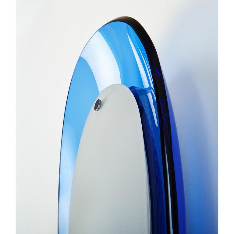 Italian Pair of Fontana Arte Blue Glass Oval Sconces, 1960s For Sale