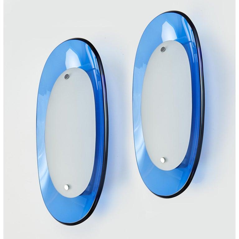 Pair of Fontana Arte Blue Glass Oval Sconces, 1960s For Sale 1