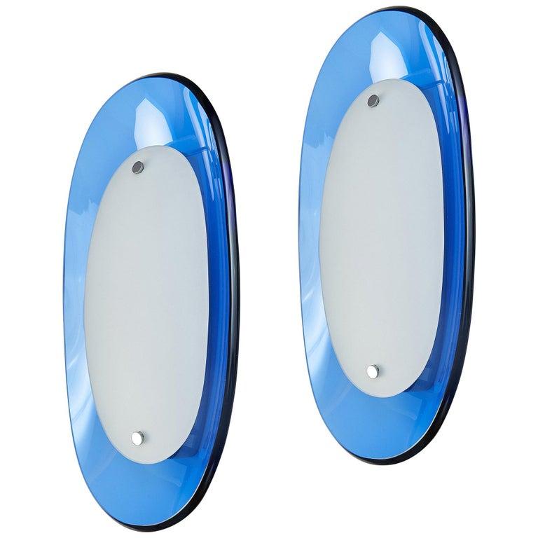 Pair of Fontana Arte Blue Glass Oval Sconces, 1960s For Sale