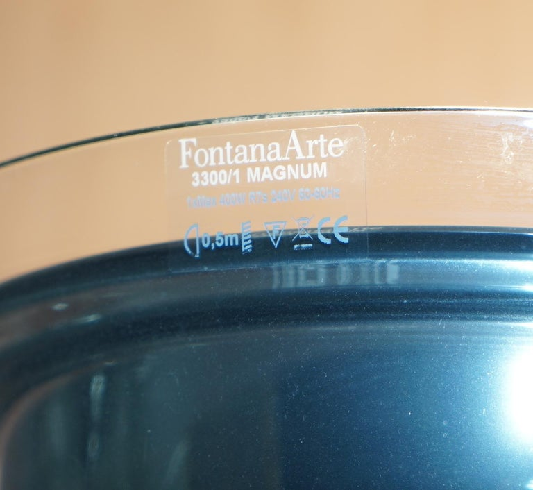 Pair of Fontana Arte Flute Magnum Floor Standing Glass and Chrome Lamp In Good Condition For Sale In London, GB