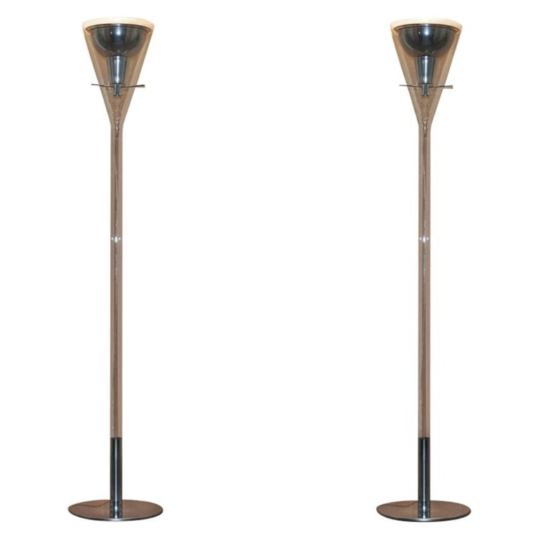 Pair of Fontana Arte Flute Magnum Floor Standing Glass and Chrome Lamp For Sale