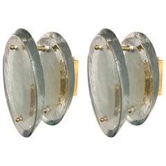 Pair of Fontana Arte Glass Disc and Brass Sconces