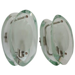 Pair of Fontana Arte Sconces 1960s by Max Ingrand Model 2093