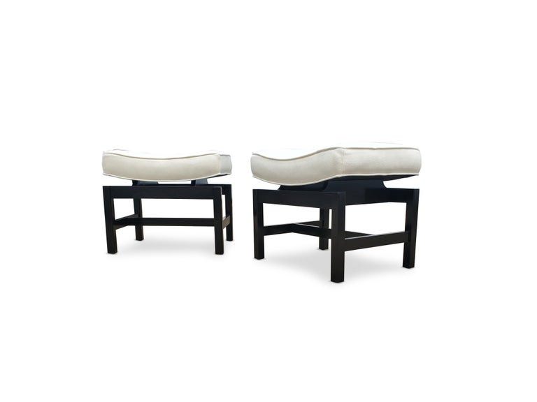 Upholstery Pair of Footstools by Jens Risom For Sale