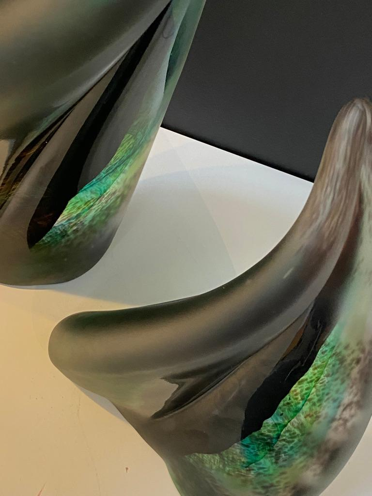 Hand-Crafted Pair of Foresta Dark Green Leaf Sculpture in Murano Art Glass Style For Sale