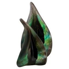 Pair of Foresta Dark Green Leaf Sculpture in Murano Art Glass Style