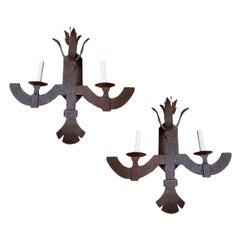 Pair of Forged Iron Sconces