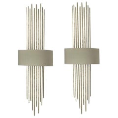 Pair of Forged Steel in White Gold Finish with Silk Lampshade Wall Lights