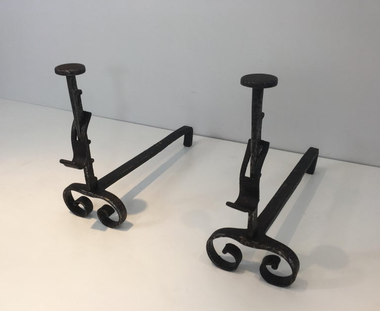 Pair of Forged Wrought Iron Andirons, French, 19th Century For Sale 11