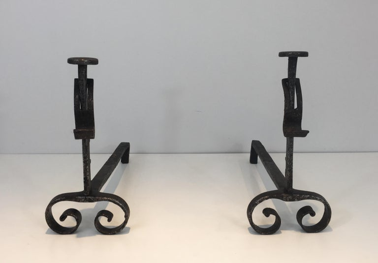 This rack and pinions andirons are made of forged wrought iron. They are French, from 19th century.