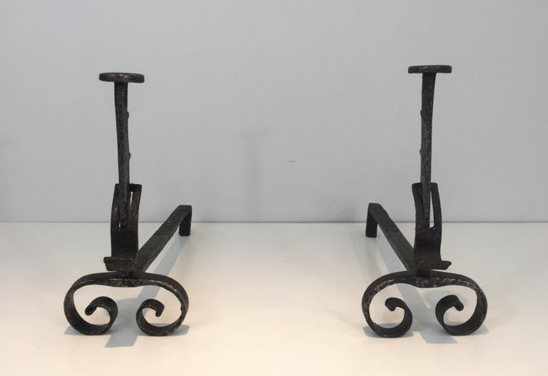 Gothic Pair of Forged Wrought Iron Andirons, French, 19th Century For Sale
