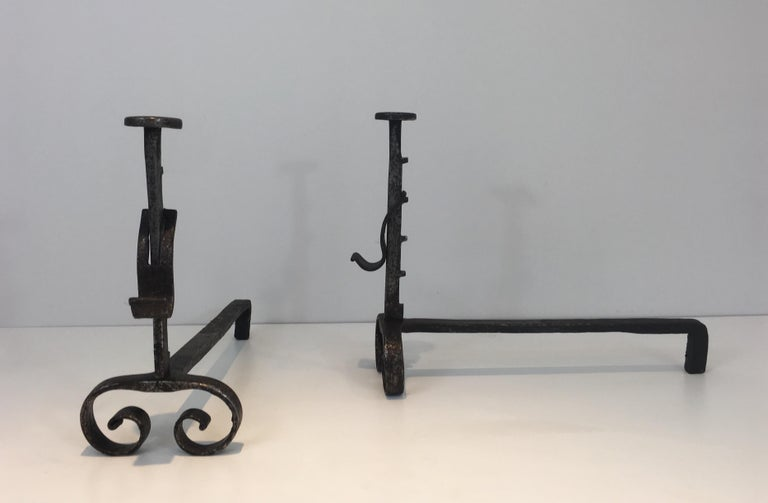 Pair of Forged Wrought Iron Andirons, French, 19th Century In Good Condition For Sale In Marcq-en-Baroeul, FR