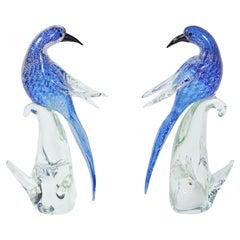 Pair of Formia di Vetri Murano Cobalt Silver Glass Birds