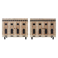 Pair of Fornasetti Architettura Decorated Eggshell Lacquer Cabinets