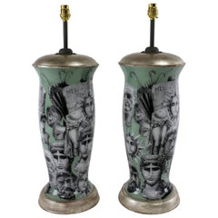Pair of Fornasetti Inspired Declamania Lamps