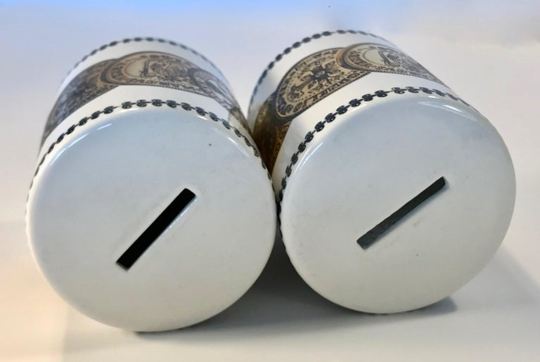 Pair of Fornasetti Piggy Banks with Coins Made for Neiman Marcus For Sale 4