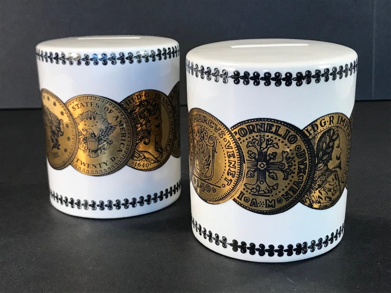Italian Pair of Fornasetti Piggy Banks with Coins Made for Neiman Marcus For Sale