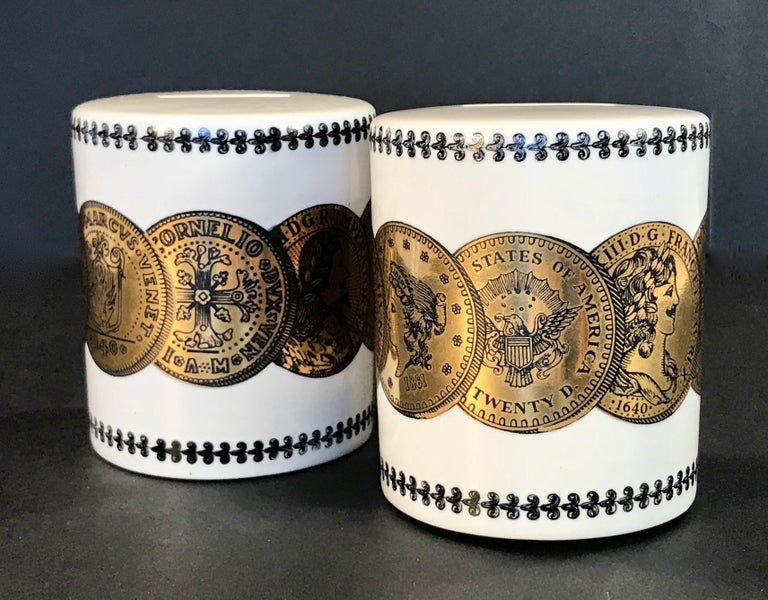 Pair of Fornasetti Piggy Banks with Coins Made for Neiman Marcus In Good Condition For Sale In Dallas, TX