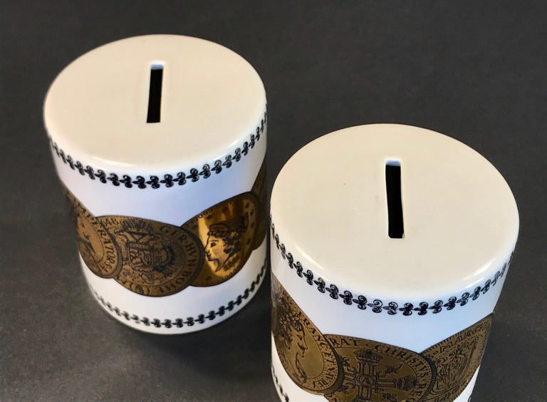 Mid-20th Century Pair of Fornasetti Piggy Banks with Coins Made for Neiman Marcus For Sale