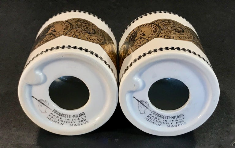 Porcelain Pair of Fornasetti Piggy Banks with Coins Made for Neiman Marcus For Sale