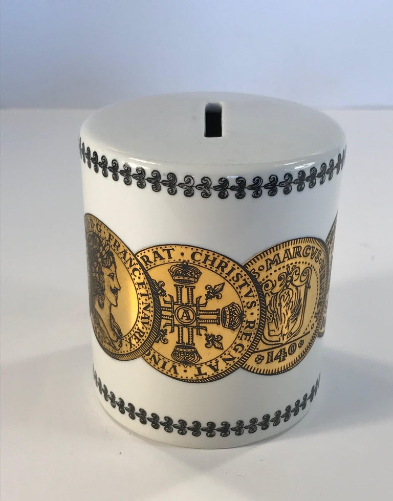Pair of Fornasetti Piggy Banks with Coins Made for Neiman Marcus For Sale 2