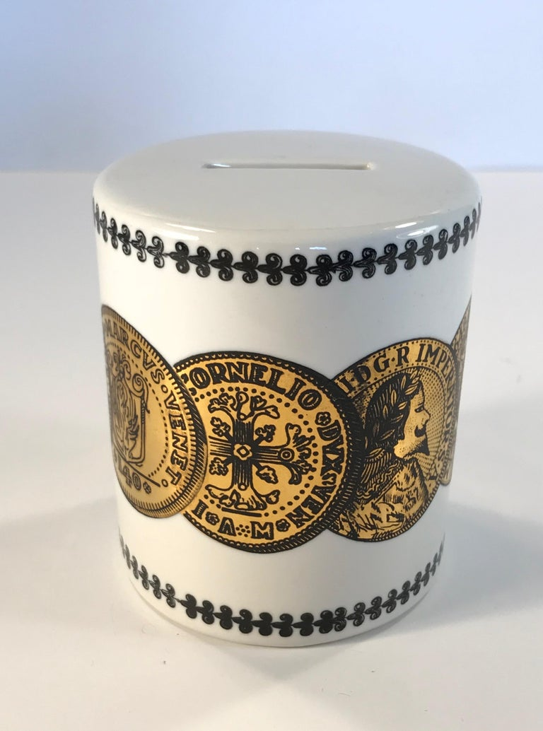 Pair of Fornasetti Piggy Banks with Coins Made for Neiman Marcus For Sale 3