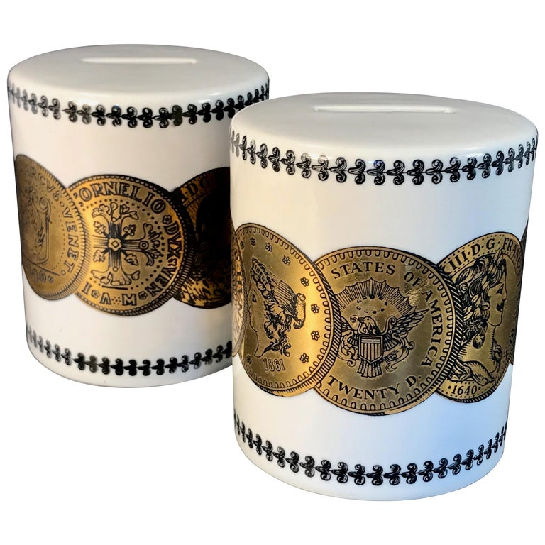 Pair of Fornasetti Piggy Banks with Coins Made for Neiman Marcus For Sale
