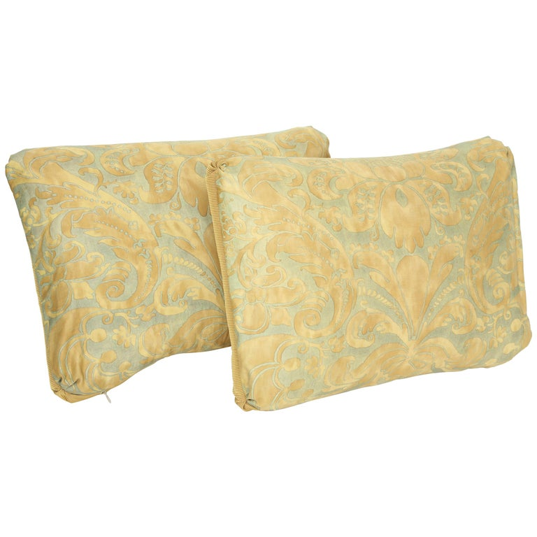 """Caravaggio"" Pattern Pair of Fortuny Oblong Cushions For Sale"