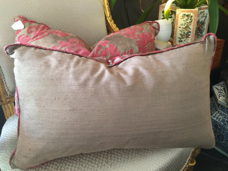 Rectangular with taupe backing; red on gold pattern.