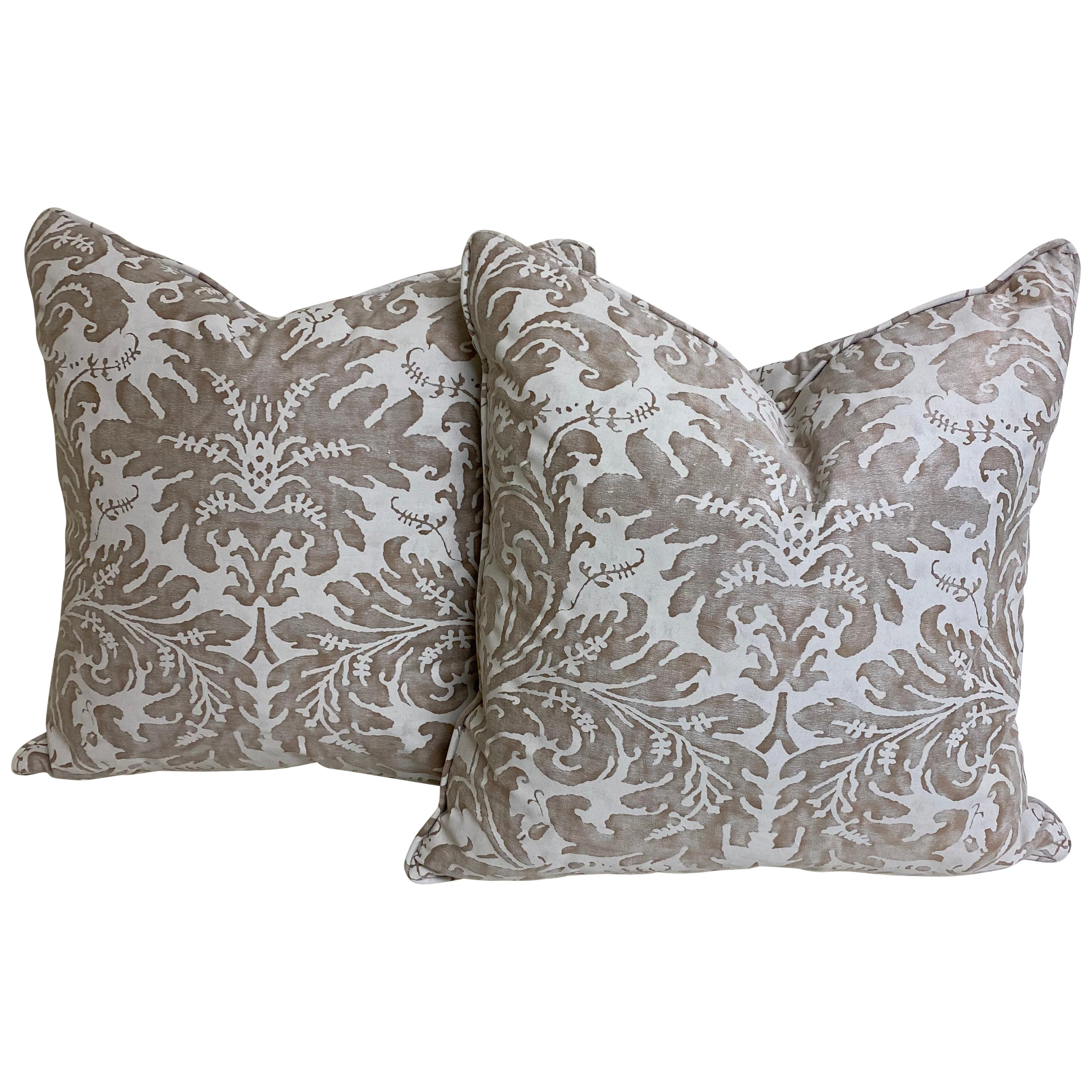"Pair of Fortuny Cushions in Silvery-Taupe and White in the ""Lucrezia"" Pattern"