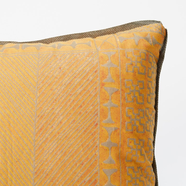 Tribal Pair of Fortuny Fabric Cushions in the Ashanti Pattern For Sale