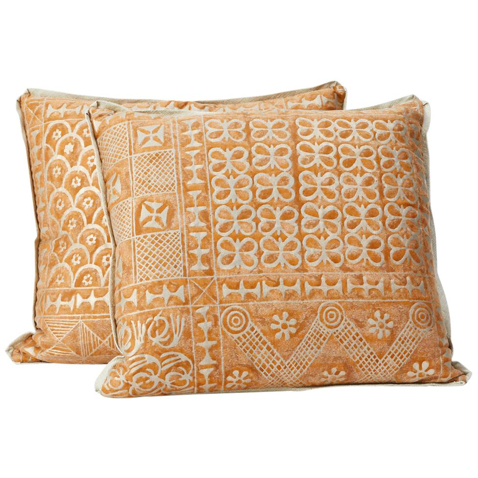 Pair of Fortuny Fabric Cushions in the Ashanti Pattern
