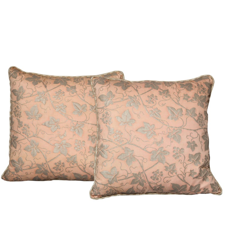 Pair of Fortuny Fabric Cushions in the Edera Pattern For Sale