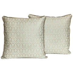 "Pair of Fortuny Fabric Cushions in the Louis XIII Style ""Delfino"" Pattern"