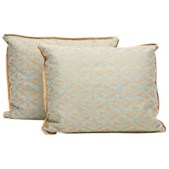 Pair of Fortuny Fabric Cushions in the Richelieu Pattern