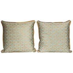 Pair of Fortuny Fabric Cushions in the Richilieu Pattern