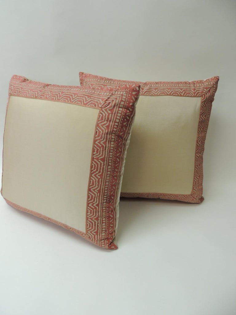 Tribal Pair of Fortuny Pink Tapa Border Decorative Pillows For Sale