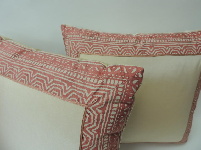Italian Pair of Fortuny Pink Tapa Border Decorative Pillows For Sale