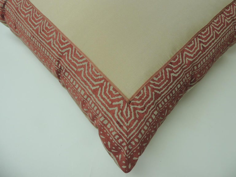Hand-Crafted Pair of Fortuny Pink Tapa Border Decorative Pillows For Sale