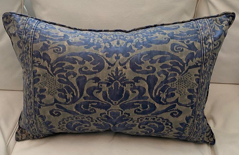 Pair of down-filled blue on gray Fortuny rectangular cushions in the