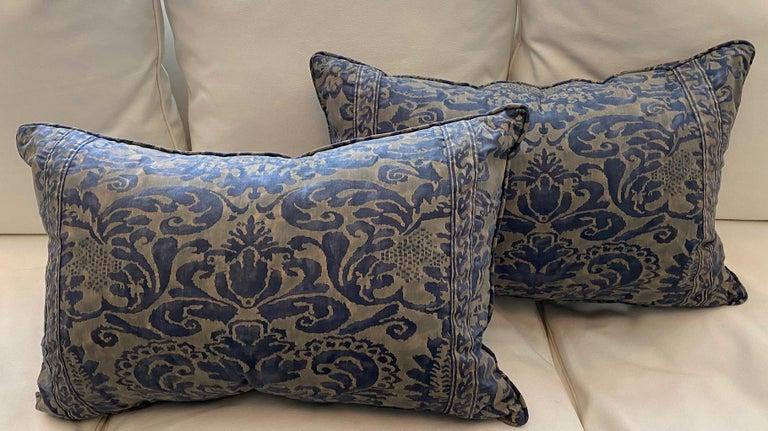 Italian Pair of Fortuny Rectangular Cushions in the