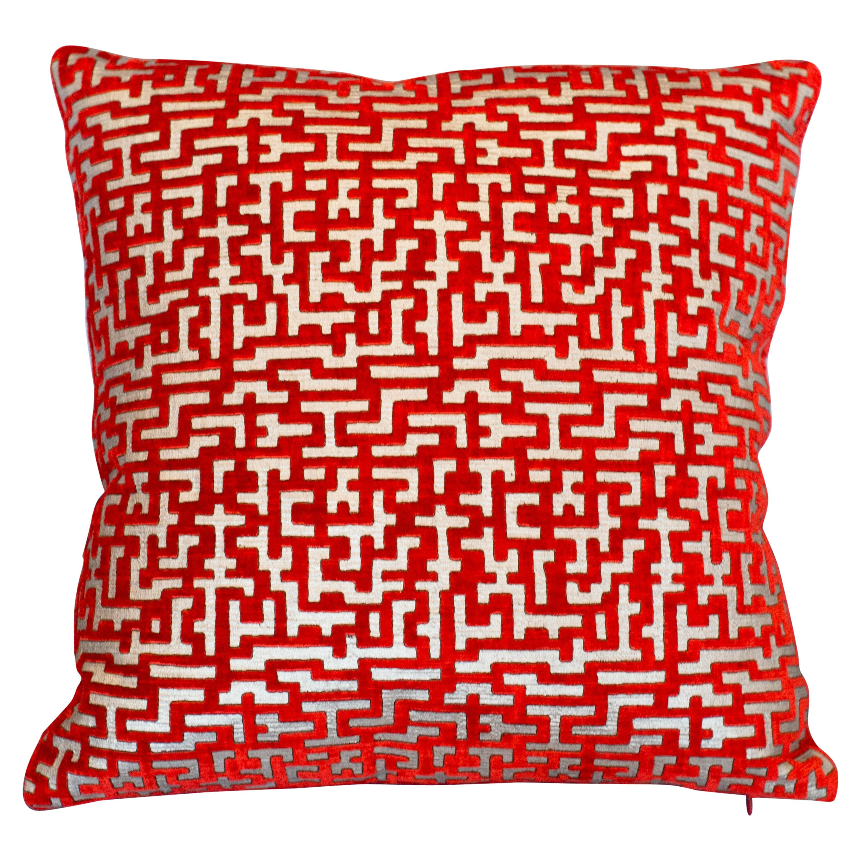 Pair of Fortuny Red and Silver Silk Velvet Pillows